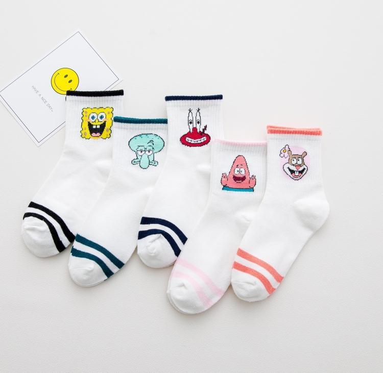 1 Pair Harajuku Cute Cartoon SpongeBob SquarePants Funny Women Cat White Cute Socks Free Shipping