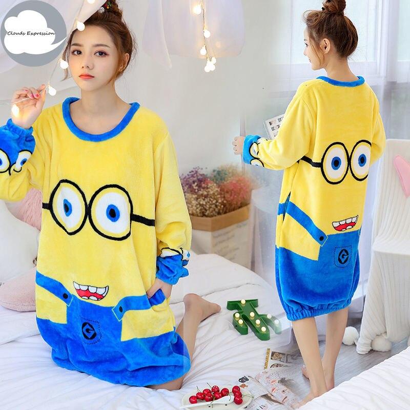 Spring Winter Women Nightgowns Cartoon Flannel Girls Homewear Sleepshirts Sleepwear Warm Coral Fleece Night Dress With Pocket