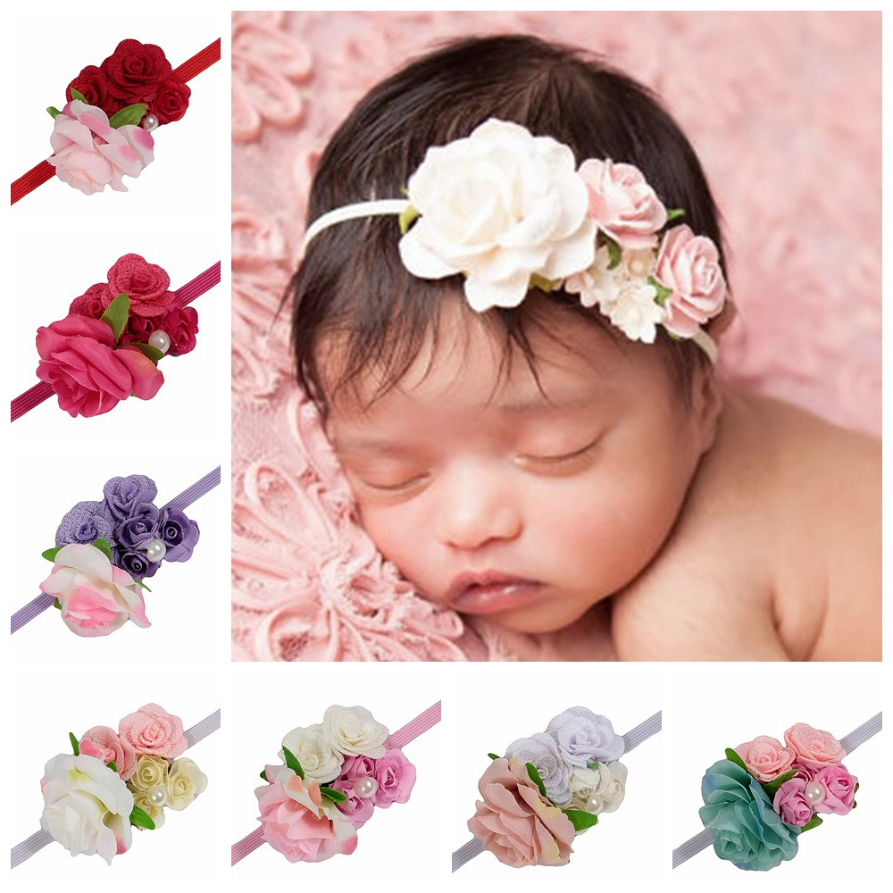 Yundfly 1PCS Rose Fabric Flower Baby Girls Headbands Newborn Toddler Elastic Hair Bands Photo Shoot Hair Accessories Cute Gifts