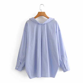 Evfer Women Casual Za Blue Loose Poplin Shirts Oversize Tops Ladies Fashion Long Sleeve Single Breasted Turn-down Collar Blouse 2