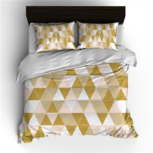 Ms.O Gold 3PCS Duvet Cover Set Geometry Square Triangle Super King Queen Full Twin Single Size Plaid Check Arrow Bedding Set check plaid print duvet cover set