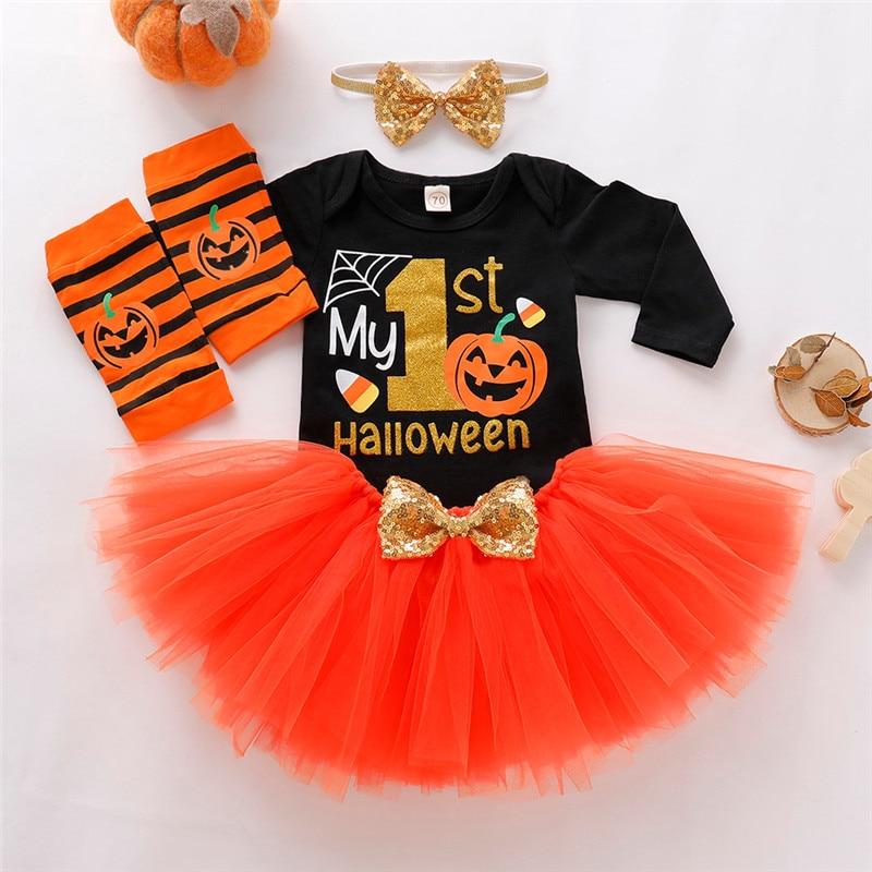 Cute Baby Girls Romper Kids Halloween Letter Tulle Skirts HairBand Leg Warmer Outfits