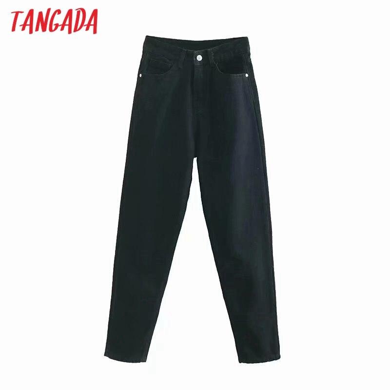 Tangada 2020 Модные женские черные джинсы брюки длинные брюки с карманами на молнии женские повседневные джинсовые брюки 4M239 Джинсы      АлиЭкспресс
