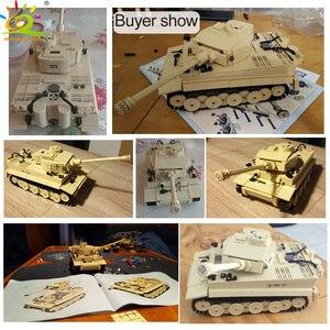 Image 2 - HUIQIBAO wojskowy niemiecki król tygrys zbiornik model klocki armii WW2 figurki żołnierzy człowiek broń cegły dzieci zabawki chłopięce prezent