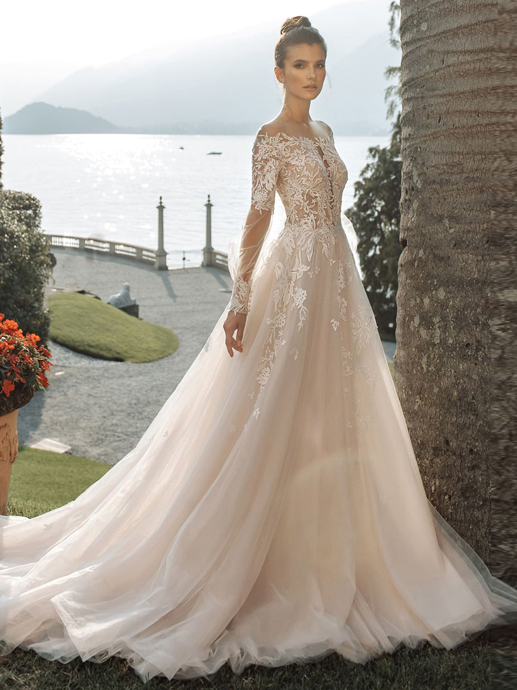 Booma Long Sleeve Lace Wedding Dresses 2020 Appliques Soft Tulle Princess Beach Bridal Gown Plus Size illusion Long Train Dress