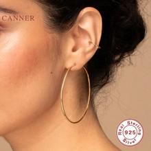 CANNER-Pendientes de plata de ley 925 auténtica para mujer, aretes circulares, aros coreanos, joyería de plata y oro de 1,2mm de espesor, 50mm