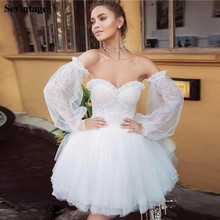 Sevintage Boho Sweetheart Mini Wedding Dresses With Detachable Long Sleeves Above Knee Bridal Gowns Vestido de noiva 2020