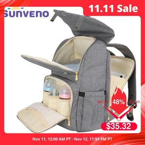 Image 1 - SUNVENO modna torba na pieluchy mamusia torba na pieluchy macierzyńskie o dużej pojemności plecak podróżny torba na pieluchy dla opieka nad dzieckiem