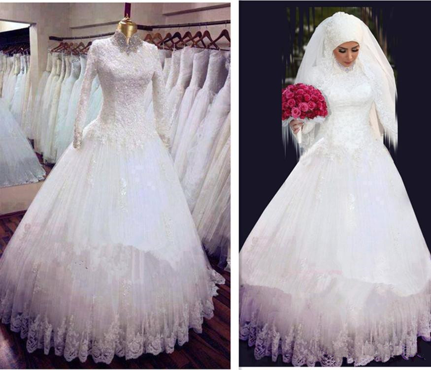 A line Beaded crystals High Neck Long Sleeve lace sequined appliques Floor Length Muslim bridal gown 2018