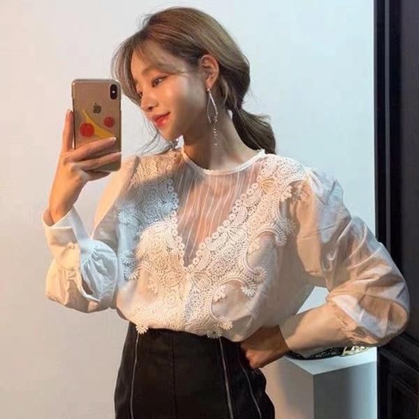Female Tops New Korean Fashion Clothing Elegant White Office Lady Blouse Patchwork Women Lace Shirt