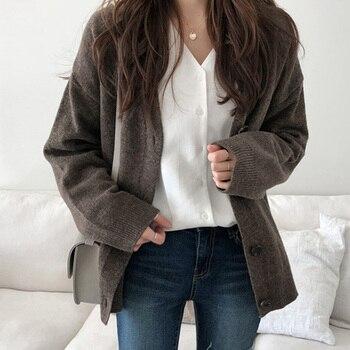 Femmes Vintage Cardigan col en V automne pull hiver doux coton tricot marée chaude coréen décontracté Simple couleur unie mode veste