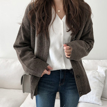 Women Vintage Cardigan V neck Fall Sweater Winter Soft Cotton Knit Hot Tide Korean Casual Simple Solid color Fashion Jacket