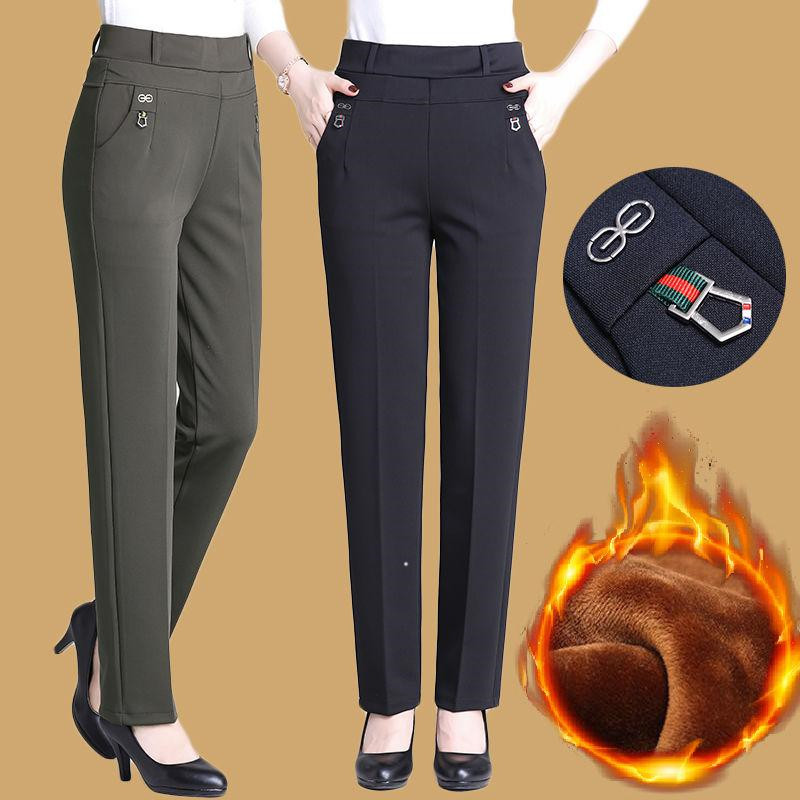 New Atumn Winter Women's Pants Plus Size 5XL Add Velet Mom Pants Elastic High Waist Casual Women Trousers Loose Straight P163
