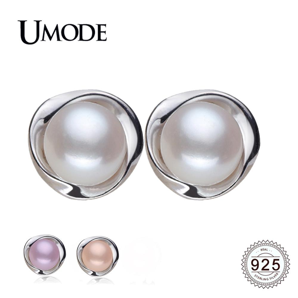 UMODE 925 Sterling Silver Stud Earring For Women Pearl Earrings 100 Genuine Pearl Jewelry Natural Pearl Gift Pendientes AE0023 in Earrings from Jewelry Accessories