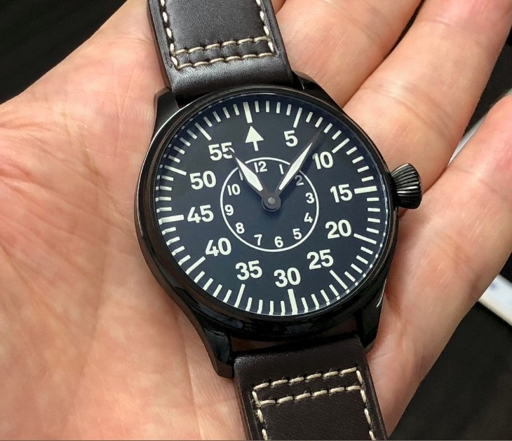 Sapphire crystal or Mineral glass 44mm  black dial Asian 6497 17 jewels  movement  PVD case  luminous Mechanical watches GR43-2