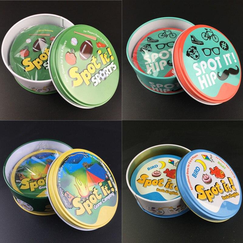 Dobble Spot It карточная игра игрушка железный ящик 55 карт Гермиона Спорт Go кемпинг хип-хоп детская настольная игра подарок