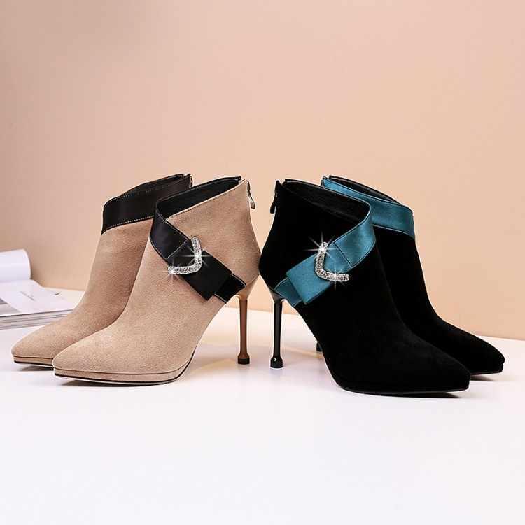 Große Größe 9 stiefel frauen schuhe stiefeletten für frauen damen stiefel schuhe frau winter Zurück zipper farbe wasser bohrer