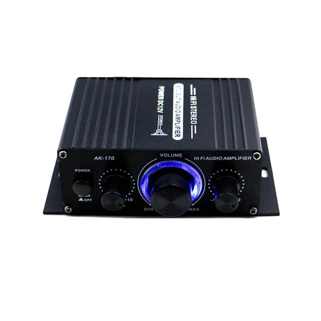 AK170 12 فولت صوت صغير مكبر كهربائي استقبال الصوت الرقمي أمبير قناة مزدوجة 20 واط + 20 واط باس ثلاثة أضعاف التحكم في مستوى الصوت للاستخدام المنزلي سيارة