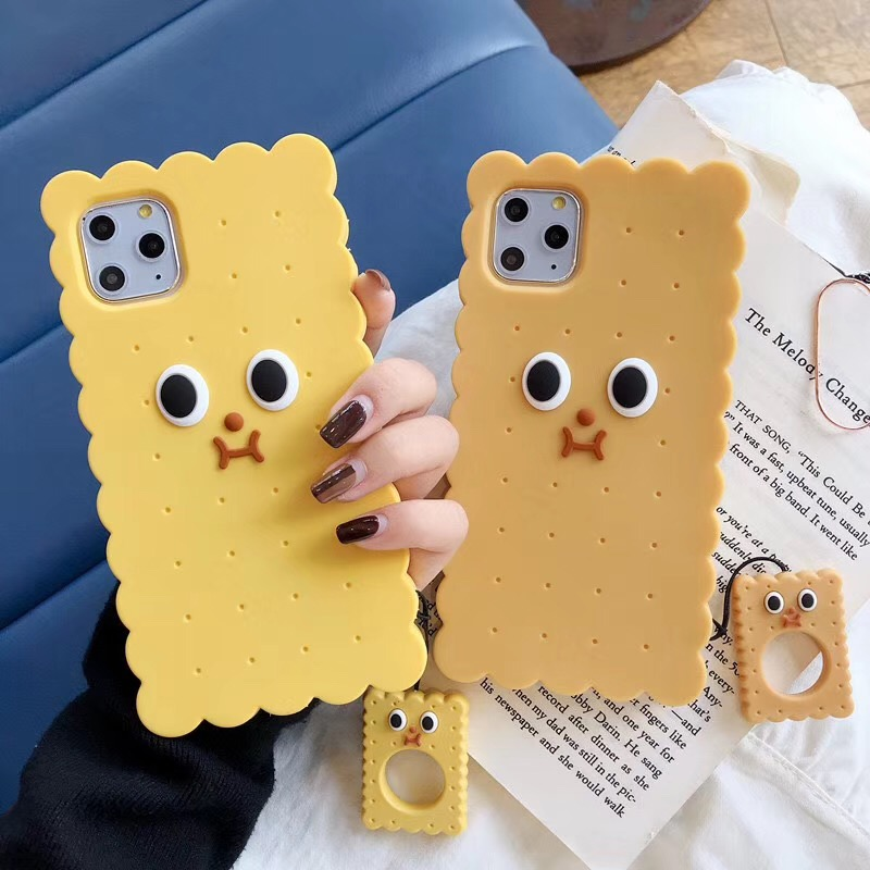 Telefon Fall Für <font><b>iPhone</b></font> 11 Pro Max Fall Silikon Nette Biscuit Cookie Abdeckung Für <font><b>iPhone</b></font> XR XS Max 6S <font><b>7</b></font> 8 Plus <font><b>Funda</b></font> Coque Starp Ring image