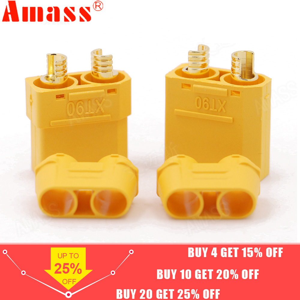 4pcs/lot Amass XT90 Battery <font><b>Connector</b></font> Set <font><b>4.5mm</b></font> Male Female Gold Plated Banana Plug For RC Model Battery (2 pair) image