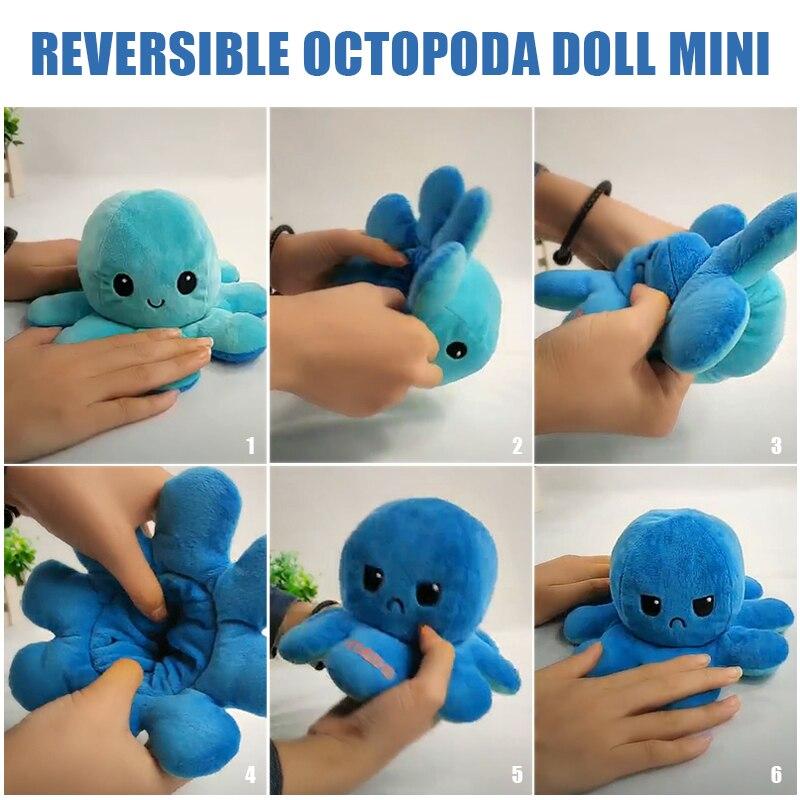 Crianças Macio Presente Pieuvre Bichos De Pelúcia Crianças Double-Sided Flip Rever-vel осьминог Bonito Brinquedos de Pelúcia Boneca Macia bichos de pelúcia brinquedos