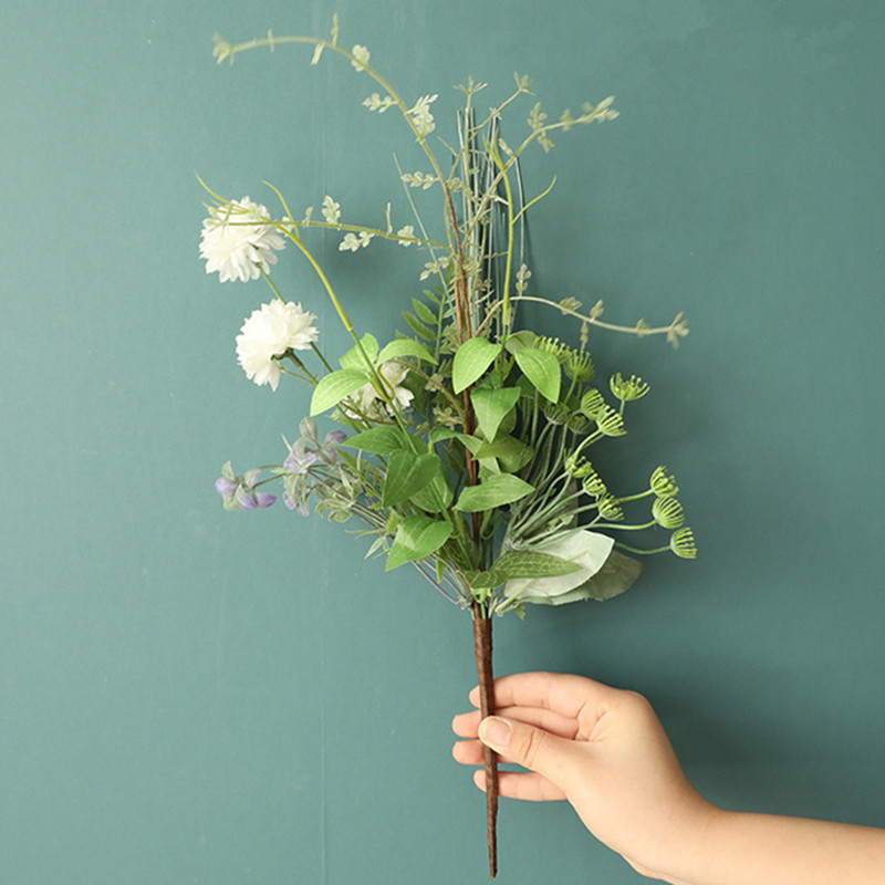 Mixed Grass Flower Bundle Artificial Flowers With Green Leaves For Wedding Decoration Mariage Babyshower White Fake Flores Artificial Dried Flowers Aliexpress