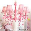 Amerikanischen pastoralen Rosa Kristall Kronleuchter Mädchen Schlafzimmer Prinzessin Zimmer kinder zimmer lampe Koreanische romantische LED Blume Kronleuchter-in Pendelleuchten aus Licht & Beleuchtung bei