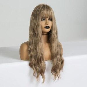 Image 5 - EASIHAIR Lungo Vaniglia Onda Bionda Parrucche con la Frangetta Sintetica Glueless Parrucche Per Le Donne Nere Parrucche di Cosplay Parrucche di Capelli Naturali