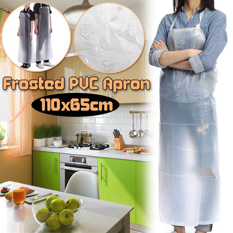 110X65 Cm PVC Apron Chef Transparan Tahan Air Apron Tahan Minyak Celemek Plastik Minyak dan Asam dan Alkali perlindungan Celemek Dapur