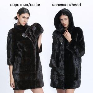 Image 3 - Véritable fourrure vison manteau femmes hiver vison manteaux femme naturel fourrure manteau véritable vison fourrure veste dames surdimensionné détachable Long noir