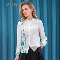 VOA Silk 22MM White Jacquard Half Collar Blue Arch Needle Contrast Stitching Single Breasted Long Sleeved Shirt BE178
