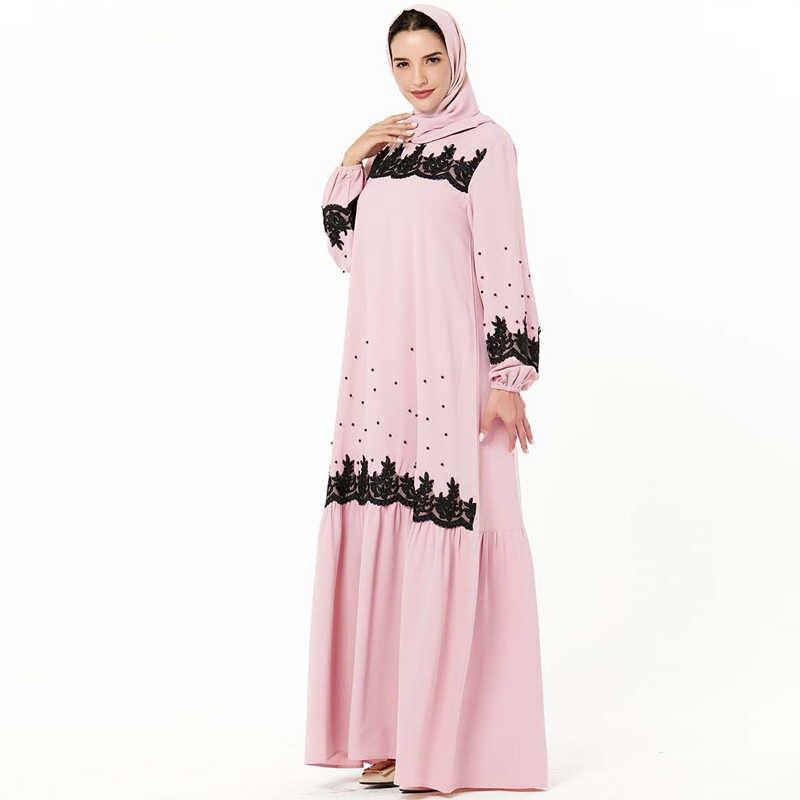 Pink Kaftan Abaya Dubai Hijab Baju Muslim Pakaian Abaya untuk Wanita Turki Gaun Arab Saudi UAE Caftan Jubah Islam