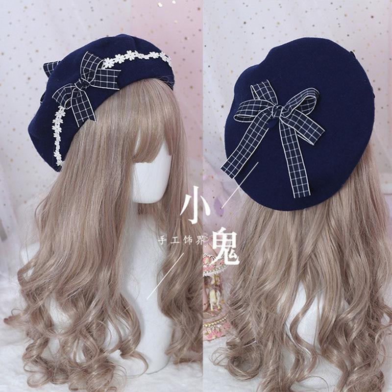Берет Шляпа Лолита Девочка милая Милая женская шляпа с бантом ромашки