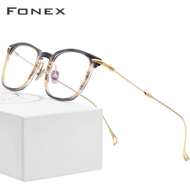 Fonex Titanium Acetaat Optische Brilmontuur Mannen Bijziendheid Recept Brillen Vrouwen Ultralight Transparante Eyewear 9131