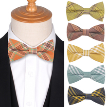 Bow Tie for Men New Cotton Plaid Bowtie Tuxedo Adjustable ties For Wedding Party Boys Girls  Butterfly Cravat