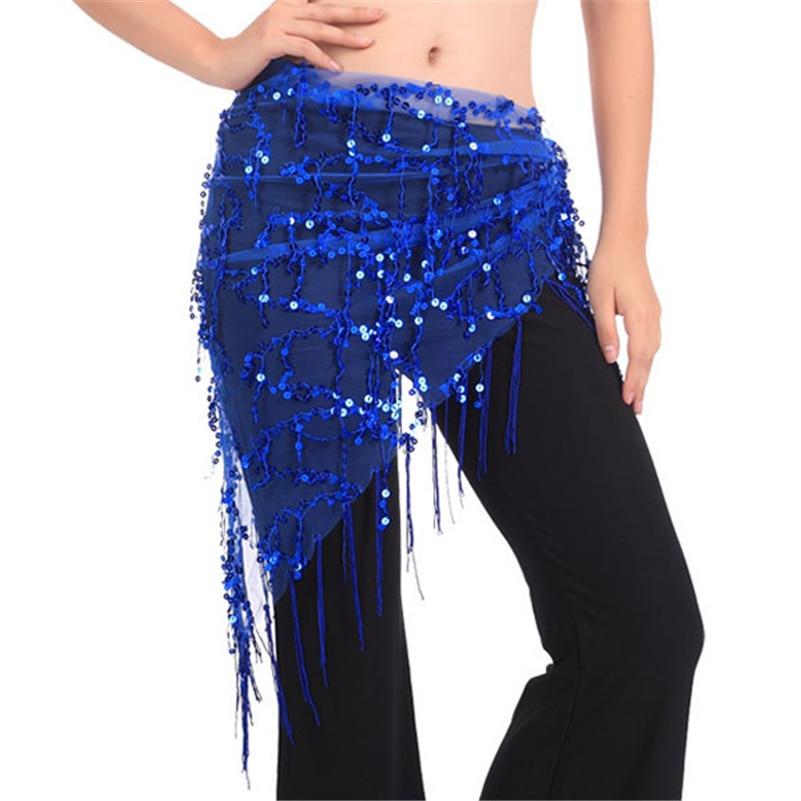 New Hot Sale Women Belly Dance Triangle Hand Make Sequin Tassles Mesh Hip Scarf Wrap Dance Wear*