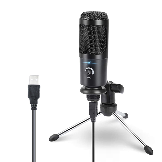USBคอนเดนเซอร์ไมโครโฟนสำหรับคาราโอเกะคอมพิวเตอร์สตูดิโอไมโครโฟนสำหรับBM 800 YouTube GAMINGไมโครโฟนพร้อมขาตั้งShock MOUNT