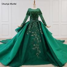 HTL1165 נשים שמלת ערב o צוואר אפליקציות נצנצים דפוס ציצית יוקרה ארוך שרוול חדש שמלת ערב vestidos דה festa לונגו