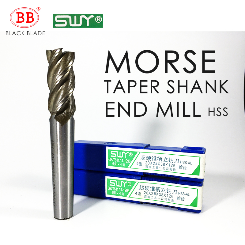 BB HSS Morse Taper Shank End Mill 12mm To 40mm Milling Cutter 2# 3# 4# G126 K136 K146