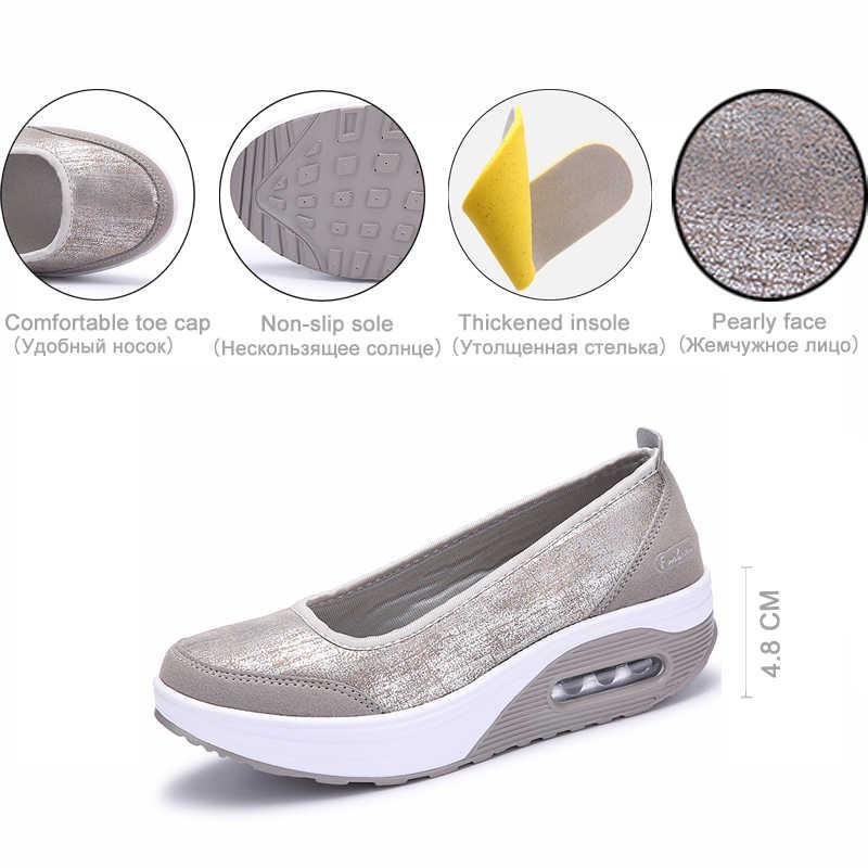 Eofk Nữ Phẳng Nền Tảng Giày Người Phụ Nữ Cho Nữ Nữ Trơn Trượt Trên Cạn Đầm Mộc Ba Lê Nữ Đế Bằng Zapatos De mujer