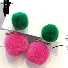 hairball dangle earring women 2019 jewelry Korea female hanging trendy  fashion drop earrings Bohemia massive