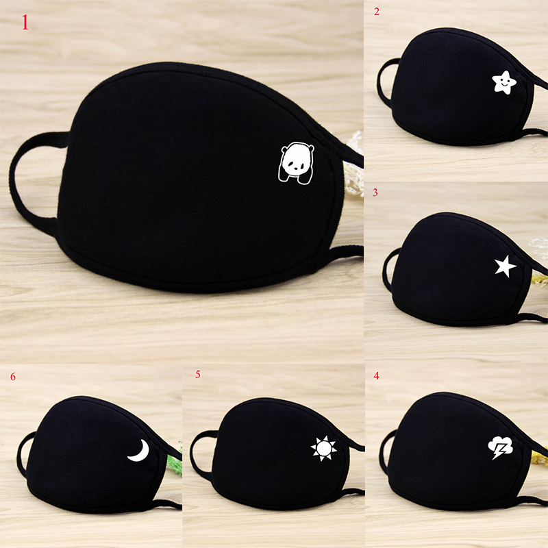 5pcs Unisex Mouth Mask Solid Black Print Kawaii Face Cover Half Fashion Cute Breathable Warm Cotton Windproof Anti-Dust Masks