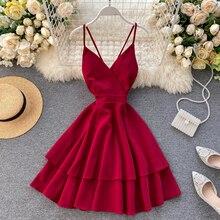 FTLZZ Summer Women V-neck Sling Cascade Ruffles Short Dress High Waist Slim Beach Backless Butterfly Bandage Red Dresses
