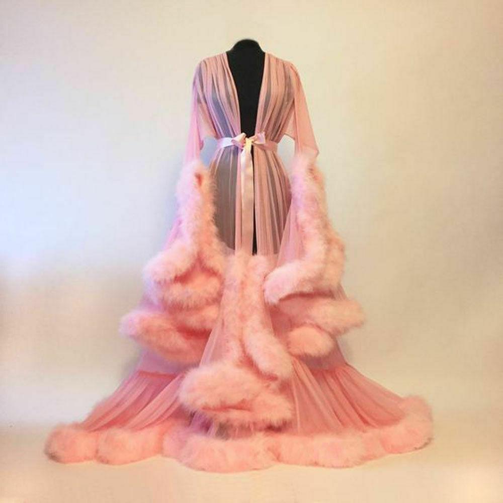 Luxury Sexy Lace Night Robe Women Kimono Night Maxi Dress Gown Mesh Long Sleeve Fur Babydoll Party Sleepwear Nightgrown Robes on AliExpress