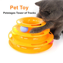 Cat Tower of Tracks Ball Toy Triple Play Interactive Circle Track with Moving Balls Satisfies Chasing and Exercising Needs