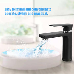 Faucet-Basin Kitchen-Mixer Water-Tap Single-Hole Bathroom Black New Frosted-Surface European-Style