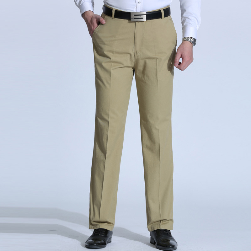 2020 Men Spring And Summer New Style Thin Polyester Cotton Casual Pants Loose Straight Business Pure Color Trousers
