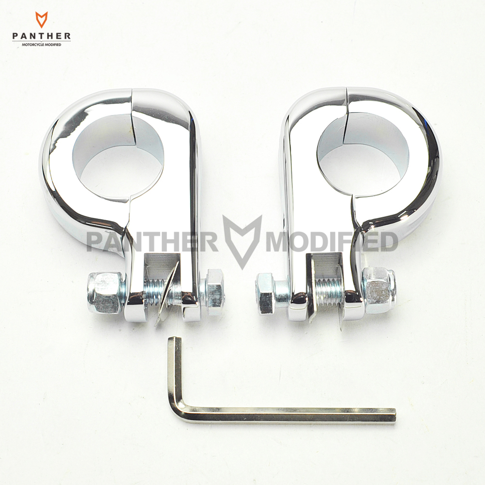 Chrome Motorcycle Foot Rest Moto Foot Peg P-Clamp Mounting Kits Case For Harley Engine Guards 1 1/4