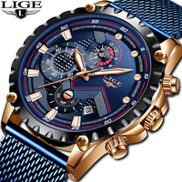 LIGE 2019 Mens Watches Top Brand Luxury Waterproof Fashion Watch Quartz Watch Men Sport Chronograph reloj hombre dropshipping
