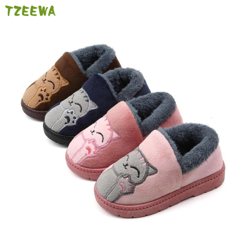 2019 Children's Slippers Cartoon Winter Warm Non-slip Kids Slippers Baby Boys Girls Home Shoes Indoor Soft Fur Cotton Kids Shoes